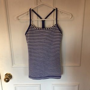 Excellent Blue and White stripped Lululemon Tank